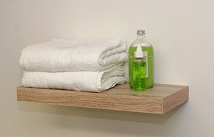 Oak veneer floating shelf