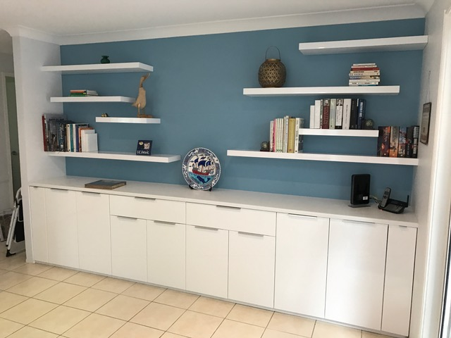 Range of 50mm thick High gloss White Topshelf floating shelves installed