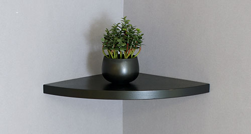 Corner Floating Shelf Black 300x300mm Topshelf