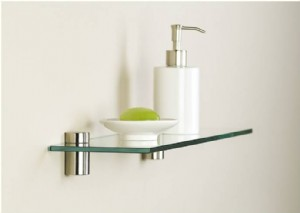 Chrome Tube clips with glass shelf.1-2