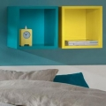 Clic Lemon and Turquoise wall situ