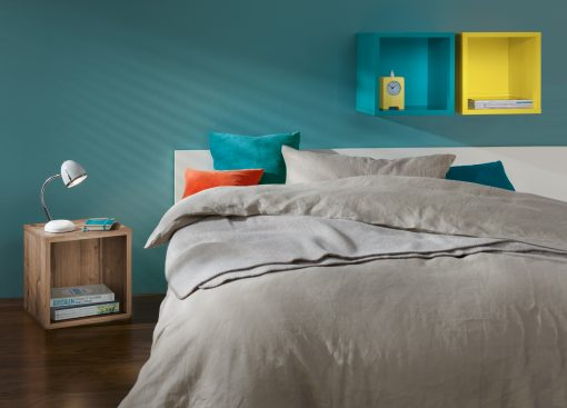 Clic bedroom Yellow and Turquoise and wood effect on the floor