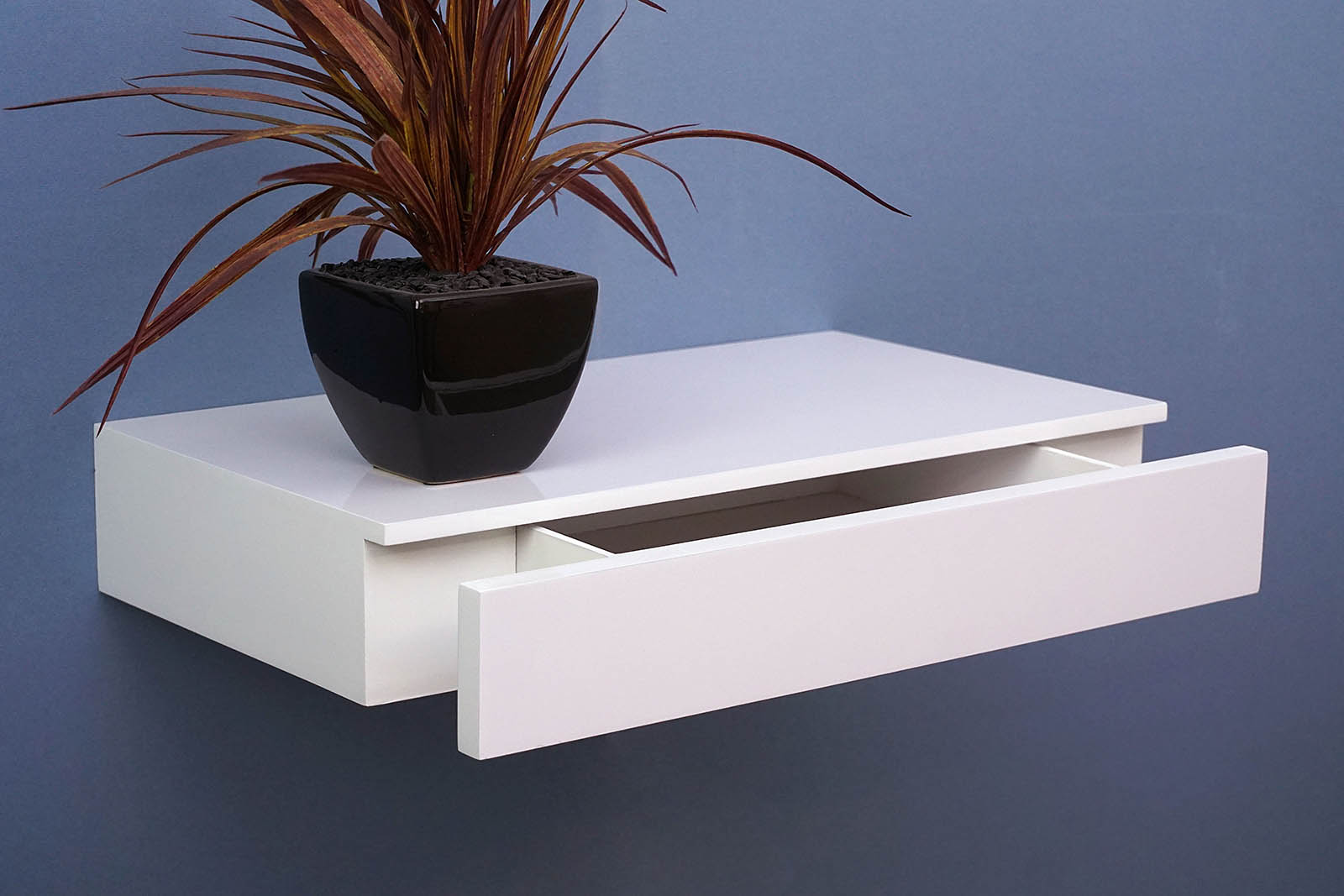 450x250x80 gloss White draw shelf