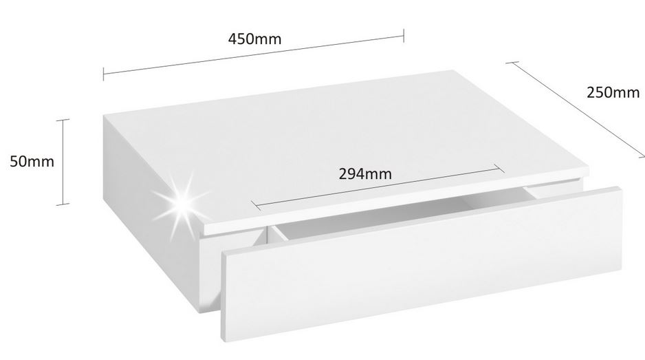 Floating shelf with draw size detail