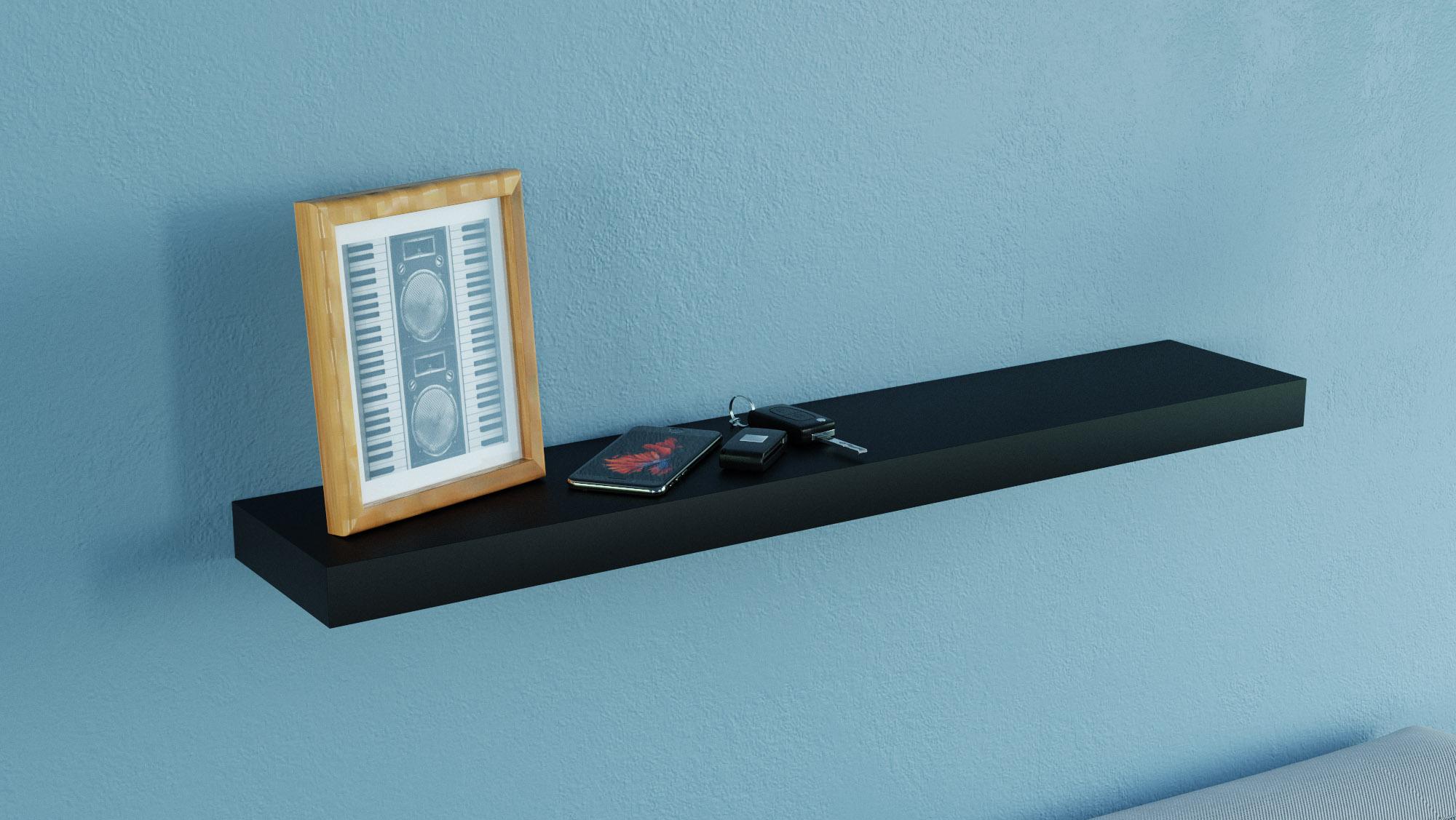 matt black floating shelf 600x150x38mm